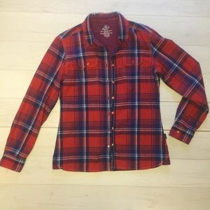 Kuhl Women Flannel Cotton Button Down Red Sz Small